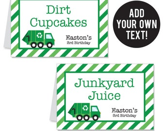 INSTANT DOWNLOAD Garbage Truck Party Buffet Cards - EDITABLE Printable File