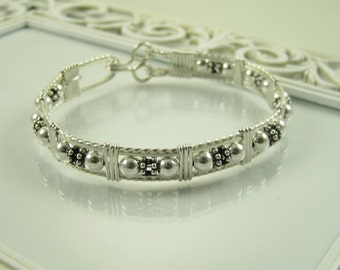 WSB-0170 Handmade .925 Sterling Silver Bead Wire Wrapped Bangle Bracelet