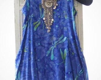 Blue batik hippie chic Coachella Sundress, Bohemian beach blue summer beach dress, Boho dress, Mexicali blue dragonfly, True rebel clothing