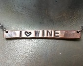 I (heart) Wine Hand Stamped Bar Necklace