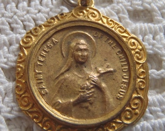Vintage Pendant Medal St. Theresa of the Child Jesus