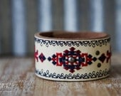 CUSTOM HANDSTAMPED CUFF - bracelet - personalized by Farmgirl Paints - leather cuff with stitched design