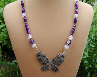 Cobalt Blue, Beaded Necklace with Silver Butterfly Pendant, Butterfly Necklace, Cobalt Butterfly Fashion Necklace