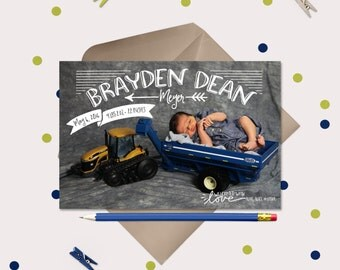 Baby Boy Birth Announcement - Illustrated around your photo - Printable Cards