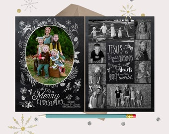 Jesus is the Light Chalkboard Christmas Cards · 9 photo Holiday cards · Christian Christmas Cards