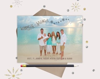 Simple Warmest Wishes Christmas Photo Cards