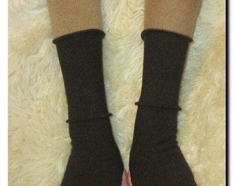 Dark Brown and Tan Wool ARM WARMERS - OOAK Fingerless Gloves ArmWarmers