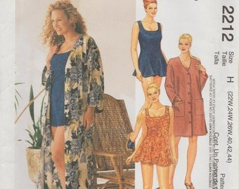 McCalls 2212 / Out Of Print Sewing Pattern / Swimsuit Bathing Suit Beach Robe / Sizes 22 24 26 / Bust 44 To 48