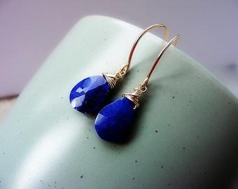 Lapis lazuli earrings, lapis gold earrings, gold wire wrap lapis earrings, lapis jewellery, royal blue earrings, September birthstone