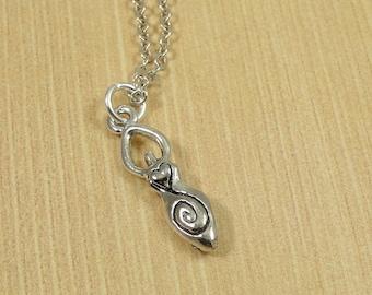 Fertility Goddess Necklace, Silver Fertility Goddess Charm on a Silver Cable Chain
