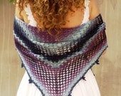 Galaxy crochet shawl, Crochet wool shawl, Crochet lace shawl, wool shawl wrap, ombre blue shawl, Triangular shawl