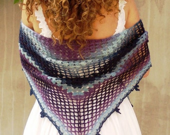 Galaxy crochet scarf lace triangular shawl ombre blue lilac wool shawl wrap gifts for women, Gift for Guests, Mother's Day giftideas