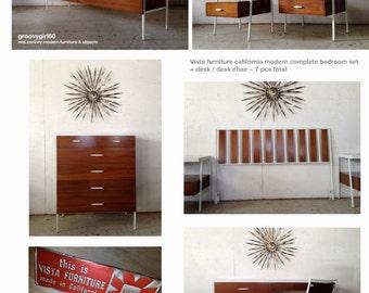 7pc Vista Furniture California Bedroom Set Credenza Dresser,Highboy Dresser , Pair Nightstands, Headboard, Vanity/ Desk, Chair
