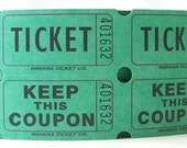 carnival tickets. party supplies. party decorations. paper ephemera. green. circus decor. craft supplies. vintage. double tickets. tickets.