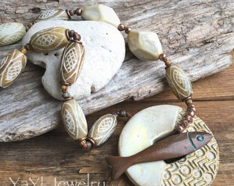 Just Keep Swimming, Fish Necklace, Knotted Necklace, Vanilla, Mykonos Necklace, Mykonos Jewelry, Earthy Jewelry, Beach Jewelry, YaY Jewelry