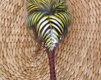 Palm Tree with Coconuts Wine Glass Hand Painted (Custom Order) Wine Cocktail Bar