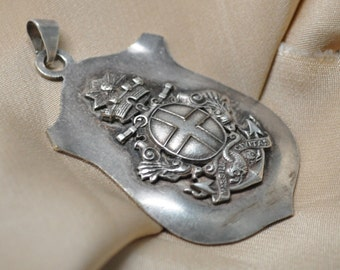 Vintage French Metal Shield Coat of Arms Silver Toned Heraldic Medieval Style Pendant