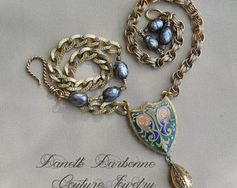 Your Kingdom Awaits / Antique French Enameled Shield 12kt Gold Filled Watch Chain Genuine Pearls