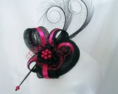 Black & Cerise Pink Pheasant Curl Feather Sinamay and Pearl Isabel Wedding Fascinator Mini Hat - Custom Made to Order