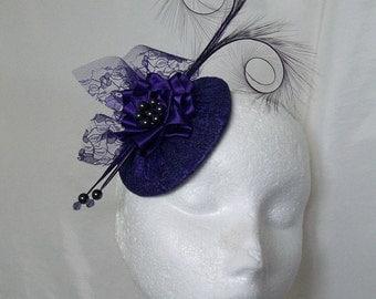 Dark Purple Pheasant Curl Feather & Lace Covered Disc Wedding Percher Fascinator Mini Hat - Custom Made to Order
