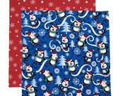 Christmas Napkin, Kids Cloth Napkin, School Lunch Box Napkin, Penguins Napkin, 1 double sided napkin