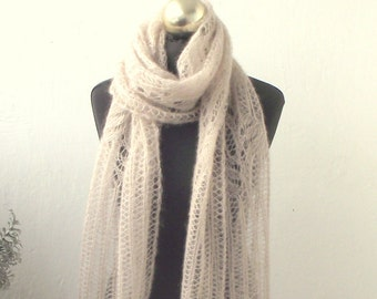 Light Beige hand knitted lace scarf with Frost Flowers pattern, SPRING SALE 15% OFF