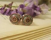 Antiqued Teal and Pink Enamel Metal Plugs Gauges 0g, 00g, 7/16ths t241