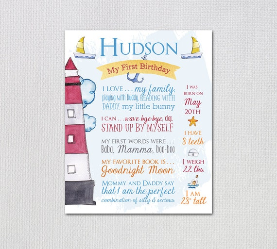 Nautical Theme First Birthday Board Printable Poster Boy