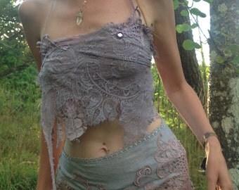 PUrple rain spiderweb lace top, festival clothing