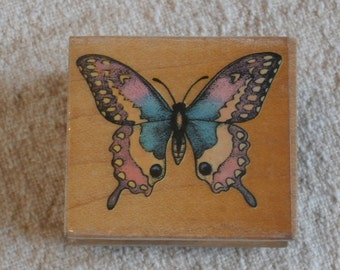 Butterfly Wooden Stamp, All Night Media 345E Wooden Back Stamper