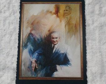 Portrait of the 36th President, Lyndon Baines Johnson, LBJ Vintage Postcard Post Card
