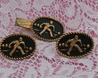 Bowling Cufflinks, Gold Tone and Black Metal Cuff Links Tie Clip Set, Oval