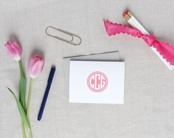 Solid Circle Monogram | Set of 10 Personalized Folded Note Cards | Initial Monogram | Custom Colors | Monogram Stationery | Gift for Him Her