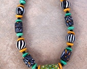 Blended Tribes Necklace Black Green African Javanese Nepalese and Venetian Glass Beads  Rustic African Jewelry