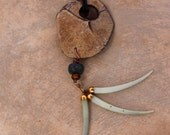Large Coconut Shell Pendant w Green Dentalium Shell Dangles Extra Long on Leather Organic Rustic Boho Ocean Jewelry