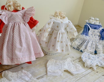 Vintage Doll Clothes, Polka Dot Doll Dress, Tiny Doll Shoes and Bloomers
