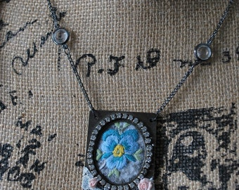 Mixed media shabby chic mori girl pendant necklace vintage embroidery blue pansy rhinestone vintage lace
