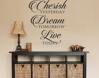 Cherish Dream Live, Vinyl Wall Lettering, Vinyl Wall Decals, Vinyl Decals, Vinyl Lettering, Wall Decals, Inspirational Decal, Home Decal