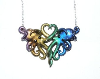 Pastel Rainbow Galaxy octopus necklace, intertwined octopi, opalescent, sparkly, glitter, starry night, outer space, stars, cosmic