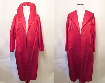 "Dazzling 1950's Ruby Red Silk Cocktail Holiday Coat by ""JW Robinson California"" Old Hollywood Glamour Starlet Pinup Chic VLV Size-Medium"