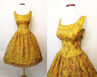 CLEARANCE Lovely 1950's Floral Print Chiffon Cocktail Party Dress with Drop Waist Rockabilly VLV Pinup Girl Vixen Summer Dress Size-Medium