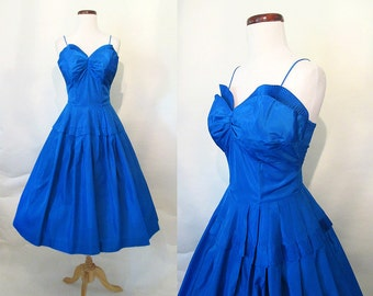 CLEARANCE Dazzling 1950's Peacock Blue Taffeta Cocktail PartyDress  Sweetheart Neckline and Shelf Bust Rockabilly VLV Pinup Girl Size-Small