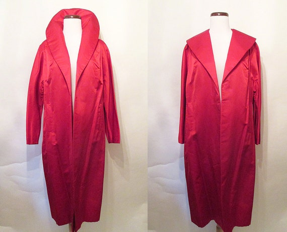 """Dazzling 1950's Ruby Red Silk Cocktail Holiday Coat by """"JW Robinson California"""" Old Hollywood Glamour Starlet Pinup Chic VLV Size-Medium"""