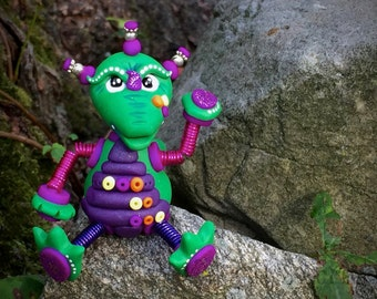 Polymer Clay Robot Dragon - Limited Edition Handmade Collectible