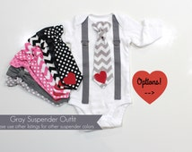Baby Boy Valentines Outfit. Valentines Day. Tie and suspenders. Infant Toddler Boy Shirt. Chevron tie. Newborn valentine outfit.