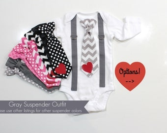 Baby Boy Valentines Outfit. Valentines Day. Tie and suspenders. Infant Toddler Boy Shirt. Chevron tie. Newborn valentine outfit.