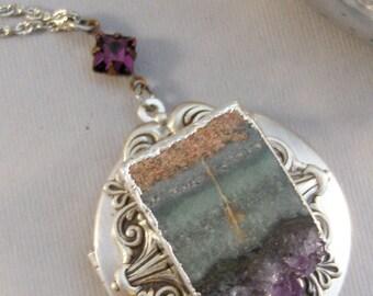 SALE Amethyst Slice Locket,Amethyst Necklace,Amethyst Pendant,Amethyst In Handmade,Locket,Antique Locket,Silver Locket,Purple Locket,valleyg