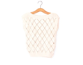 1980s Knit Top * Cream Pointelle Sweater Shell * Medium