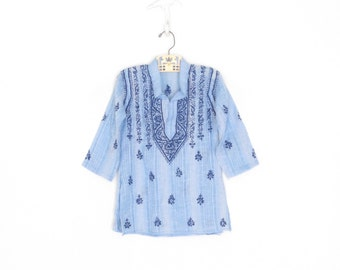 Vintage Bohemian Shirt * 70s Toddler Shirt * Embroidered Blue Tunic * 2 year old