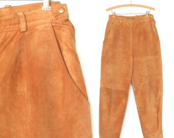 Vintage Suede Pants * 80s Leather Pants * Leather Trousers * Large